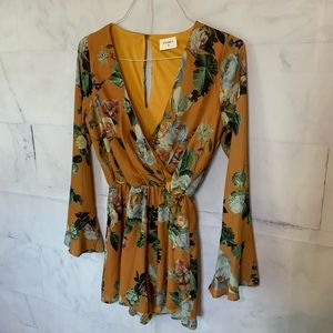 NWOT Everly Yellow Floral Long Sleeved Romper